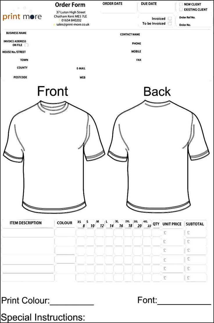48 best sample order templates images on pinterest for Where to order blank t shirts