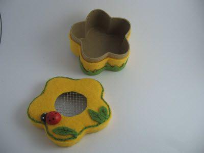 Scatola fiore : scatola per regalo, scatola rivestita in feltro, scatola originale per confezione, scatola pout pourri
