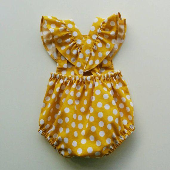 Baby Girl Romper Bubble Romper Baby Girl Outfit by GentleAdeline