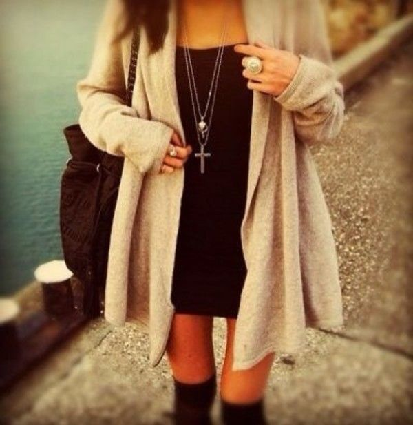 big cardigan, little black dress & knee high socks <3