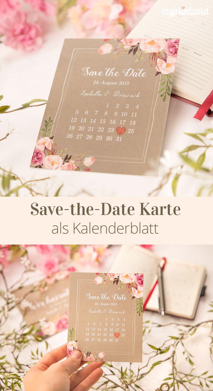 Die Save the Date Karte als Kalenderblatt