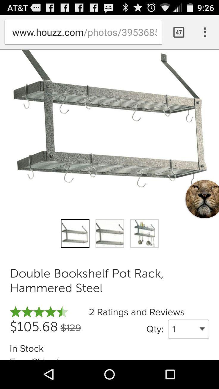 http://www.houzz.com/photos/39536853/Double-Bookshelf-Pot-Rack-Hammered-Steel-traditional-pot-racks-and-accessories