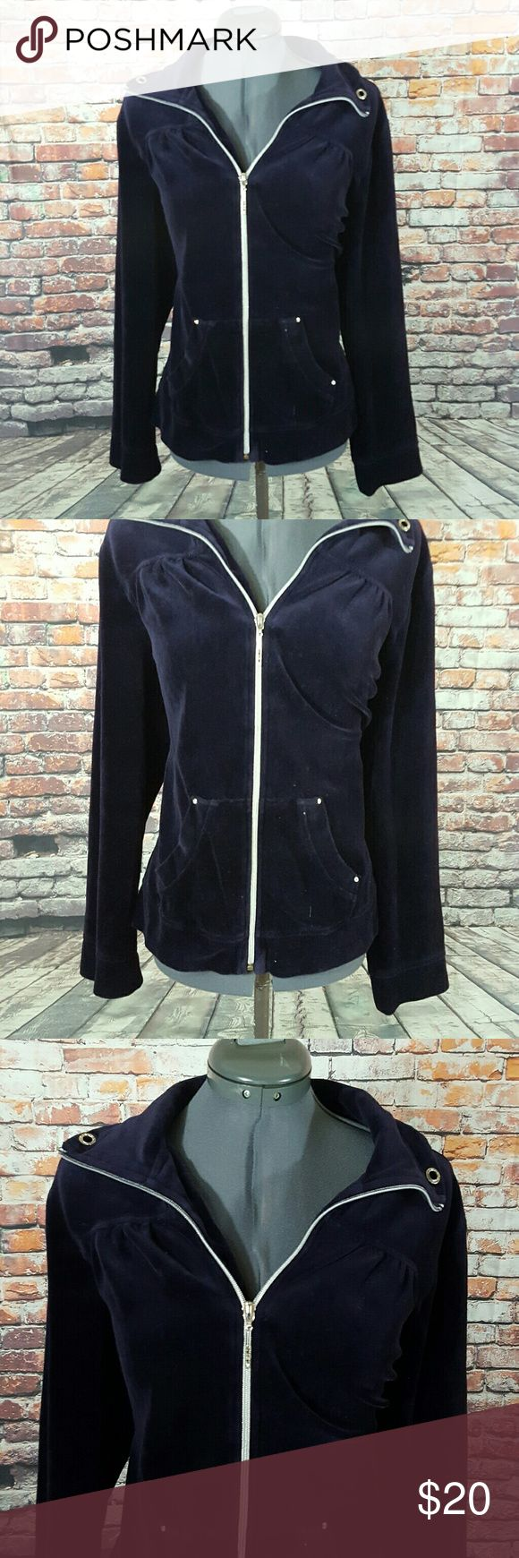 """Chicos 2 Velour Jacket Women's Zenergy by Chico's Size 2 Dark Purple Long Sleeve Zip Up Velour Jacket  Gently used with no flaws, see photos  Measurements: 21.5"""" armpit to armpit 20.5"""" waist while laying flat  25"""" in length  RT56 Chico's Jackets & Coats"""