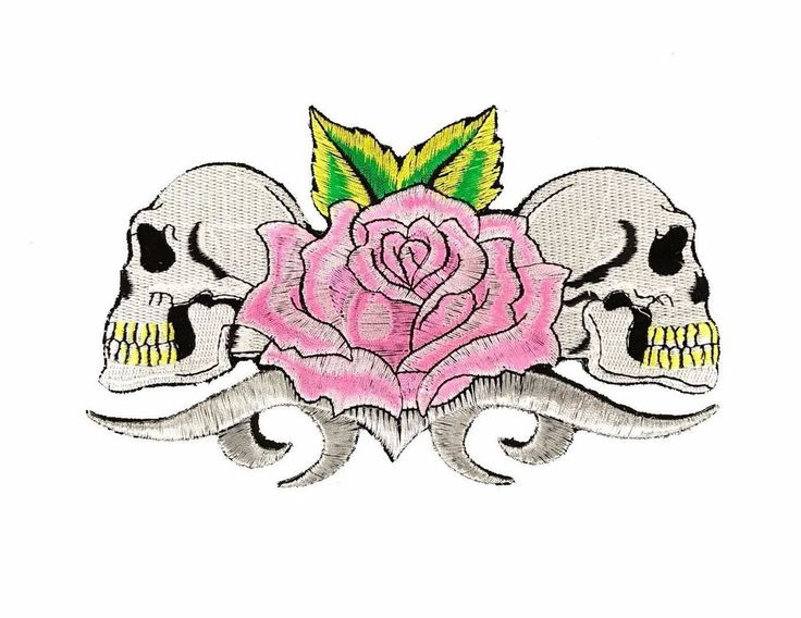"""Pink Rose Skulls Embroidered Patch 7"""" Iron On Skeleton Gothic Punk Biker Tattoo  #Embroidered"""