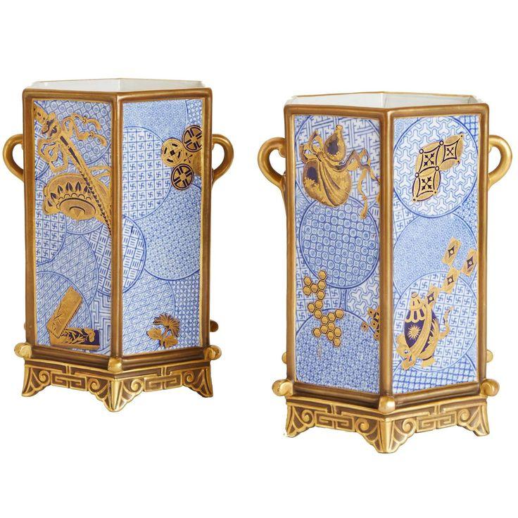 Good Pair Of Hexagonal Royal Worcester Porcelain U0027Japonismeu0027 Vases