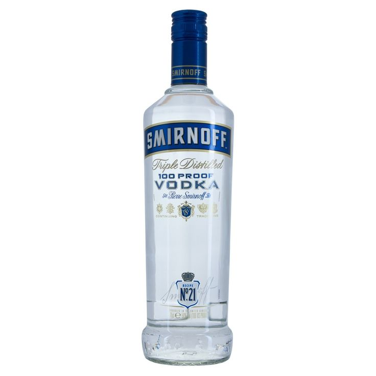 The 50% 100 proof Export Strength version of the classic Smirnoff Vodka. Blue label is triple distilled and charcoal filtered. Give your cocktails or mixers an extra added kick.