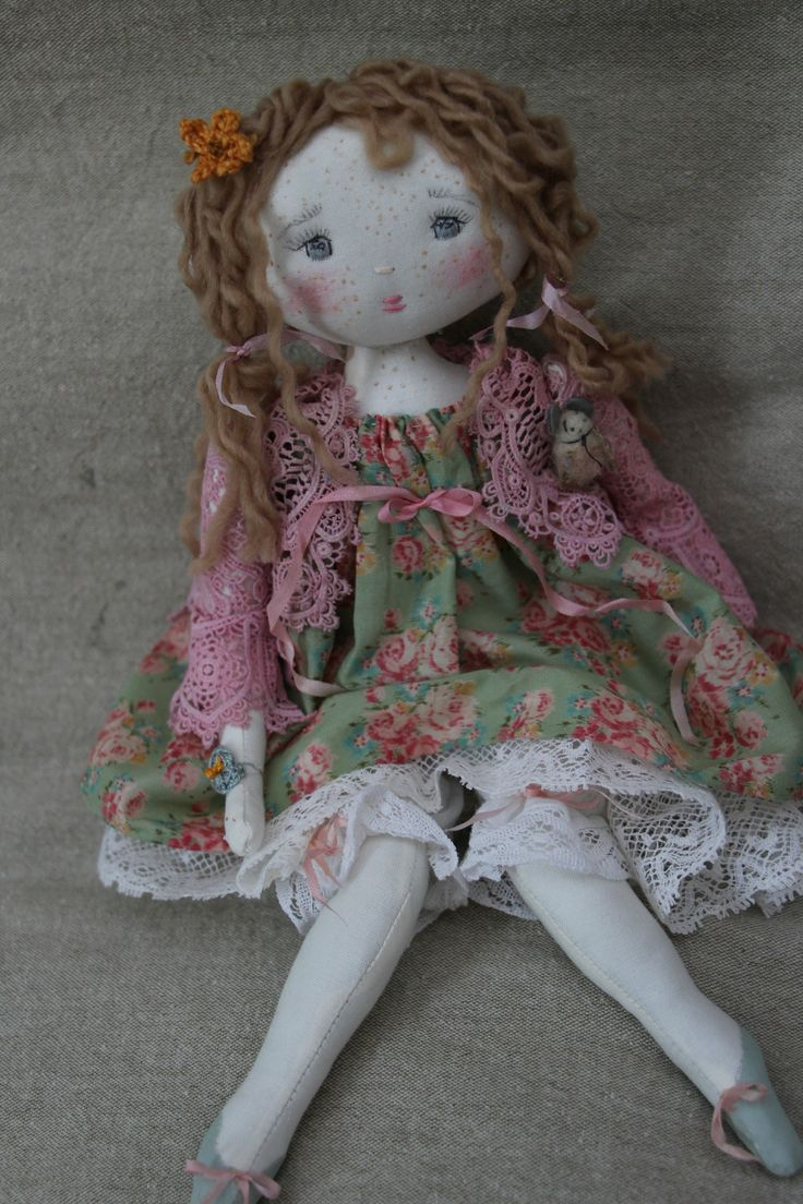 Marinette..dans sa robette à fleurettes...(35cm) - Le Jardin des Farfalous ♡ lovely doll
