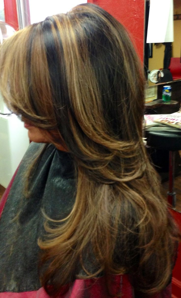 Caramel And Red Highlights In Dark Brown Hair Fashion