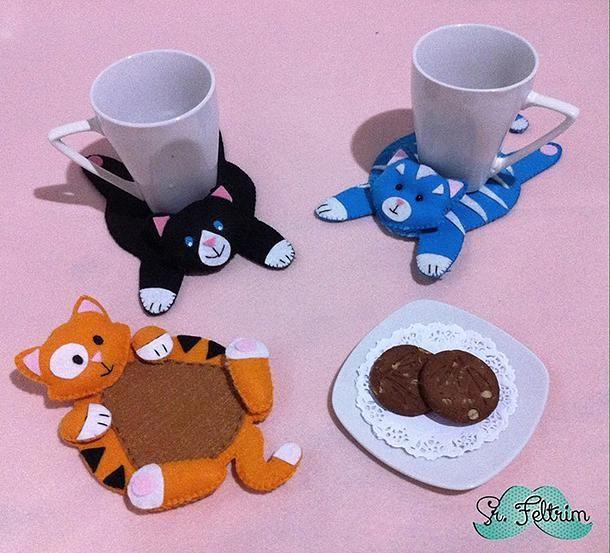 srfeltrim | Porta-copo de gatinho para o jogo de chá (molde gratuito - Baker Ross)