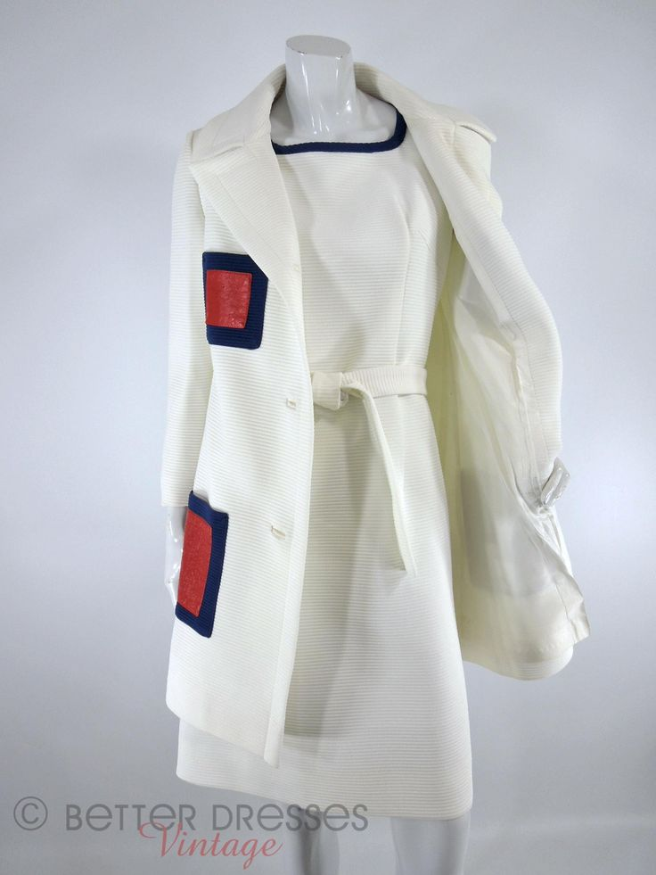 Vintage 1960s shift dress and coat set with mod styling. Substantial ottoman rib fabric in cream white and navy blue, with red pleather. Princess seamed sleevel