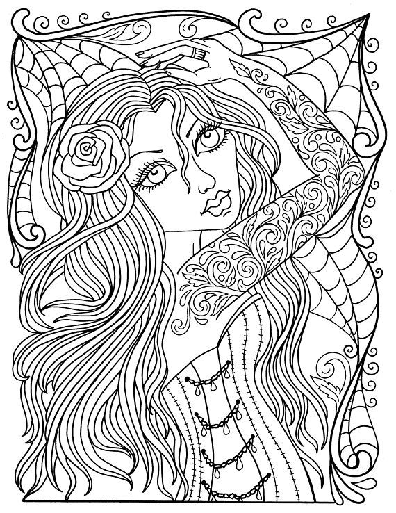- Instant Download GOTHIC Beauty Coloring Book, Adult Coloring, Color Pages,  Fashion, Goth, Big Eyed Girls, Low Brow, Tattoo Girls Digi Angel Coloring  Pages, Coloring Books, Adult Coloring