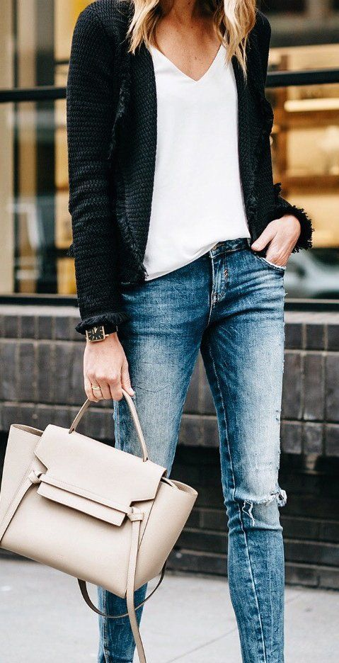 Black Cardigan / White Tee / Bleached Ripped Skinny Jeans / Beige Leather Tote Bag