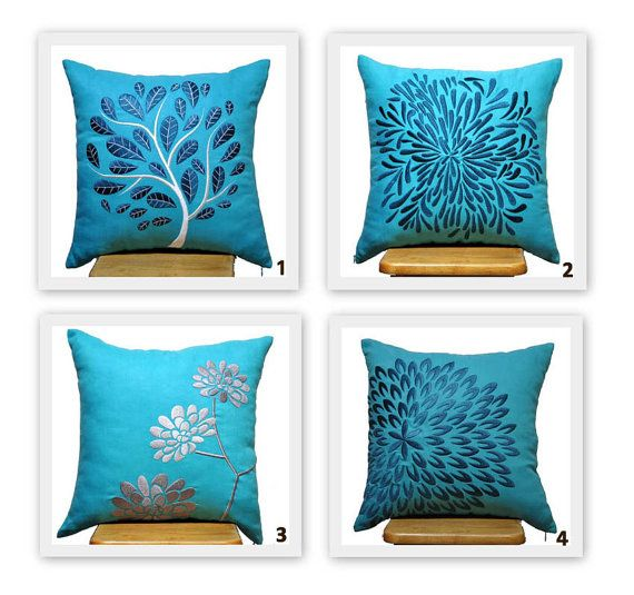 Blue Petal Flower Pillow Cover Throw Pillow Cover Deep by KainKain, $26.00
