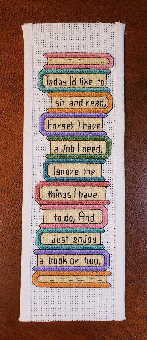 Cross Stitch Bookmark Pattern I D Like To Read Book Stack Of