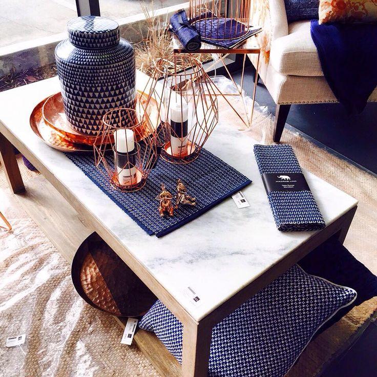 Our favorite combination of the season, Navy + Copper + Marble @dcb_designs #navy #copper #marble #navyandcopper #homewares #homedecor #marbletable #coffeetable #interiors #dcbdesigns
