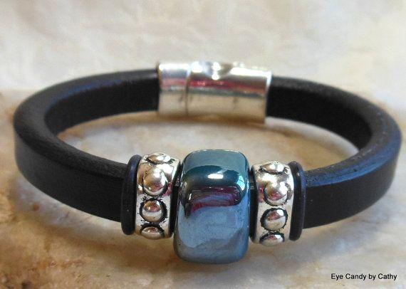 Black leather bracelet licorice leather by #EyeCandybyCathy on Etsy