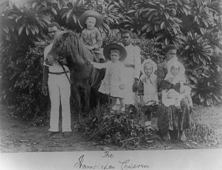 White children and South Sea Islander attendants at the Hambleton Sugar Plantation outside Carins, c1891