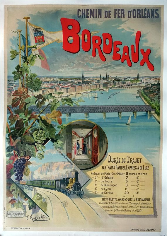 1896 French Railway Poster Bordeaux  Chemins de by OutofCopenhagen