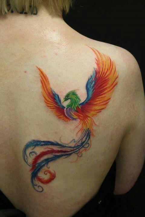 splendid shoulder blade fire phoenix watercolor tattoo idea for girls (reminds me of my hubby!)