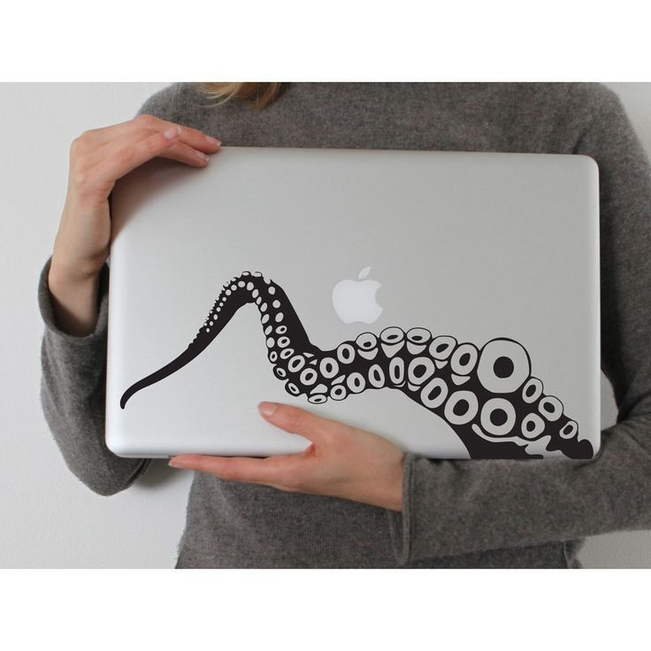 Tentacle in BLACK (Laptop Decal Removable Vinyl Sticker Laptop Computer Decal PC Apple Macbook Mac Geekery Wall Sticker Octopus Sea Nature). $12.99, via Etsy.