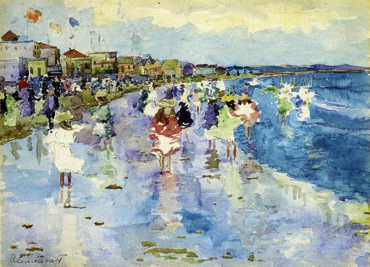 Revere Beach, 1897 by Maurice Prendergast. Impressionism. genre painting. Private Collection