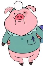 """This is """"Waddles"""", the love of Mabel's life.  She won him at the Gravity Fall's Mystery Fair when she guessed his weight of 15 ponds (original name was 15-Poundie) Does not say anything because he is so introspective."""