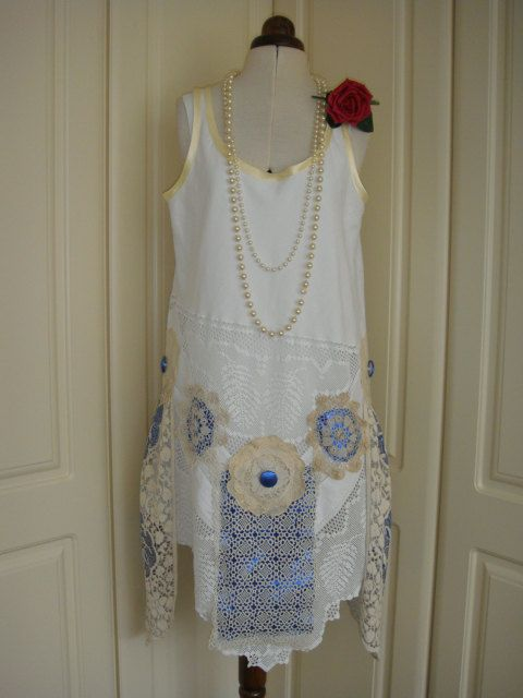 Downton Abbey 1920's Style Flapper White Vintage Lace Dress with Antique Cream Lace and Royal Blue Metallic Lame