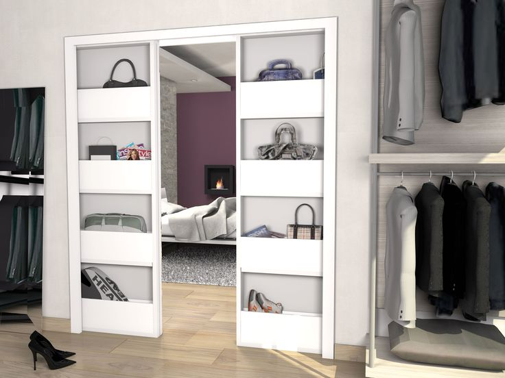 Bigfoot® America double allows  the sliding and hiding of two storage cupboards.Bigfoot® is the frame that host a shoe or a store cupboard, that slides and completely disappears into the wall when closed.