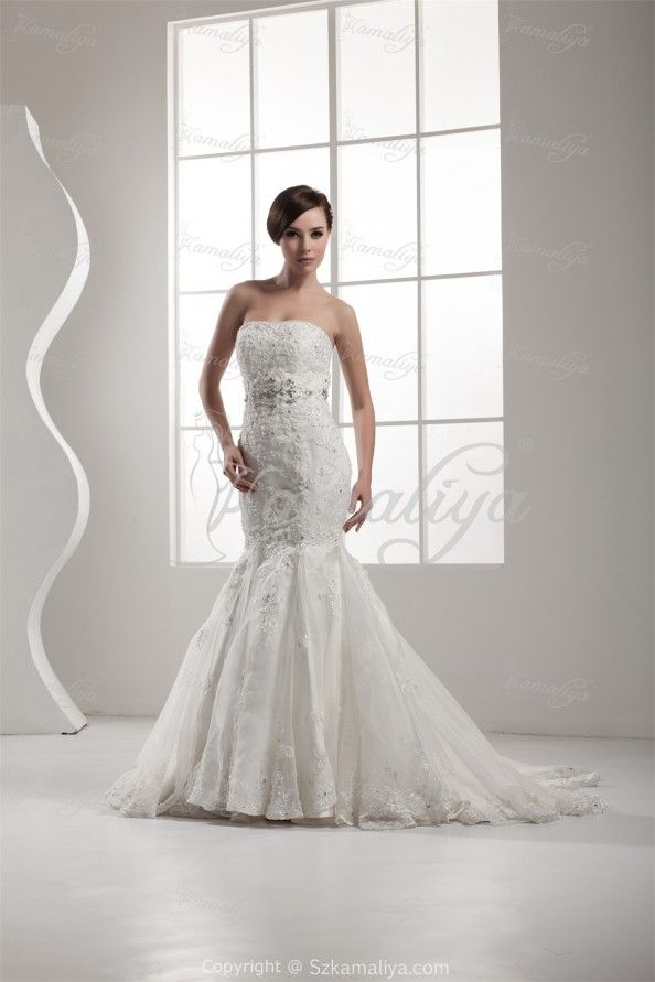 Real Sexy Elegant Pear Mermaid Trumpet Strapless Chapel Train bigday wear Wedding Dresses 2014 : Real Sexy Elegant Pear Mermaid Trumpet Strapless Chapel Train Bigday Wear Wedding Dresses 2014