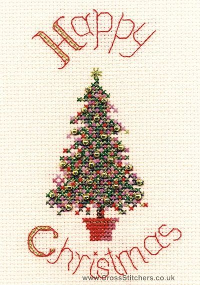 Festive Tree Christmas Greetings Card Cross Stitch Kit from Derwentwater Designs