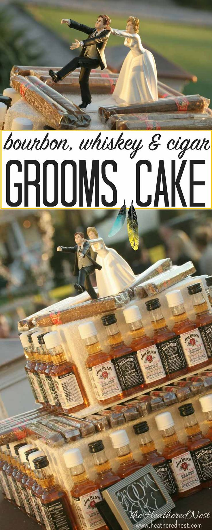 THIS may be the most AMAZING grooms cake I've ever seen!!!! Whiskey, bourbon and cigars!! This DIY groom's cake will be the life of the party at a wedding!! Talk about a popular wedding detail!! FULL TUTORIAL from heatherednest.com