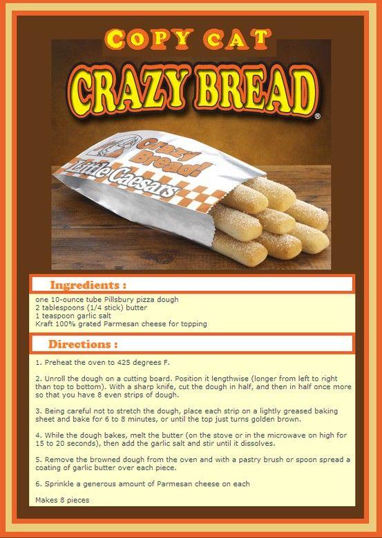 copy cat crazy bread recipe