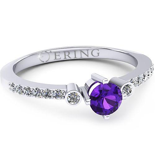 Inel logodna L31AAM inel cu ametist si diamante