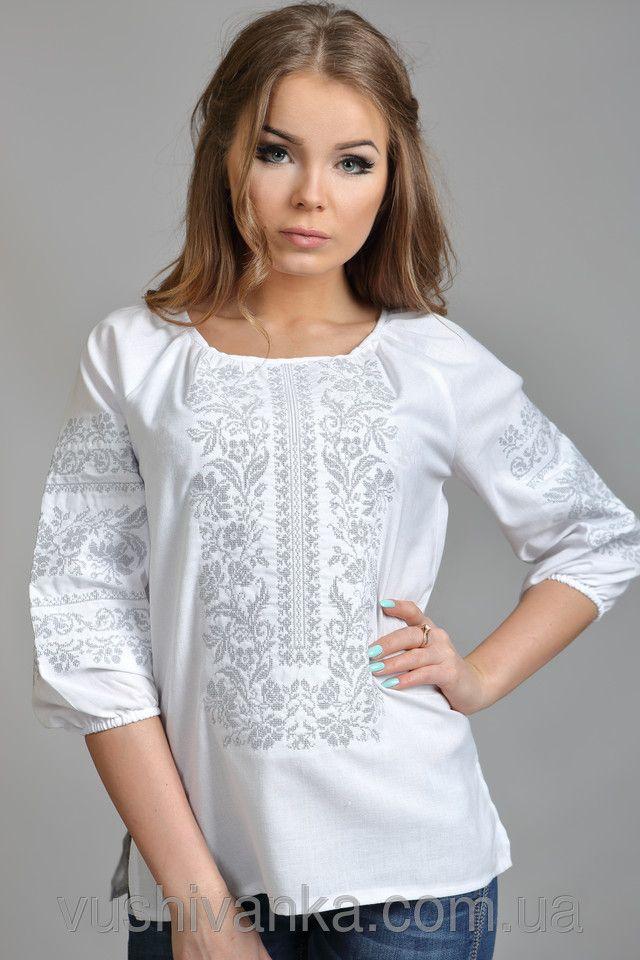 Купить Белая женская вышиванка с цветочным узором в Киеве, цена, отзывы | Вышиванко