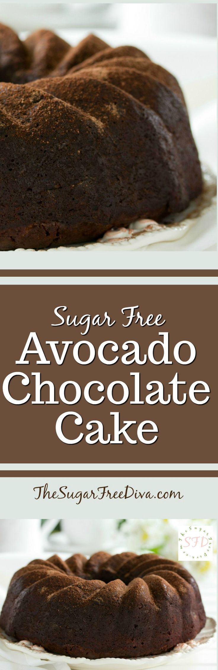 Sugar Free Avocado Chocolate Cake-- you don't even notice the avocado in this recipe. This is a great tasting cake that is perfect for dessert or for brunch or even a party. We love the great tasting chocolate in this easy recipe!