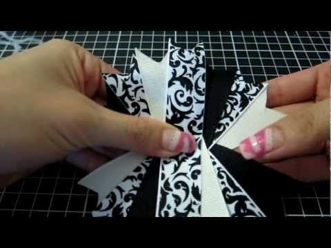 How To Make A Ribbon Spike Pinwheel Hair Bow Tutorial - YouTube