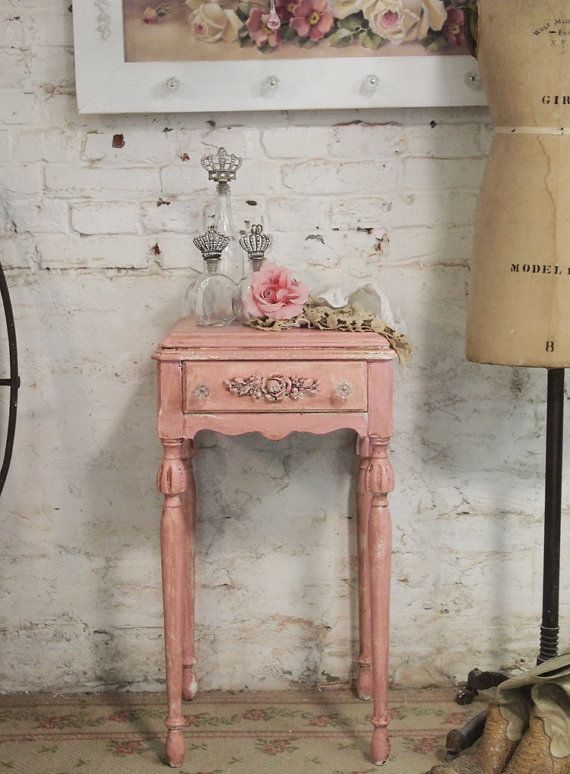 Painted Cottage Chic Shabby White Romantic French Night Table NT185 on Etsy, $160.00