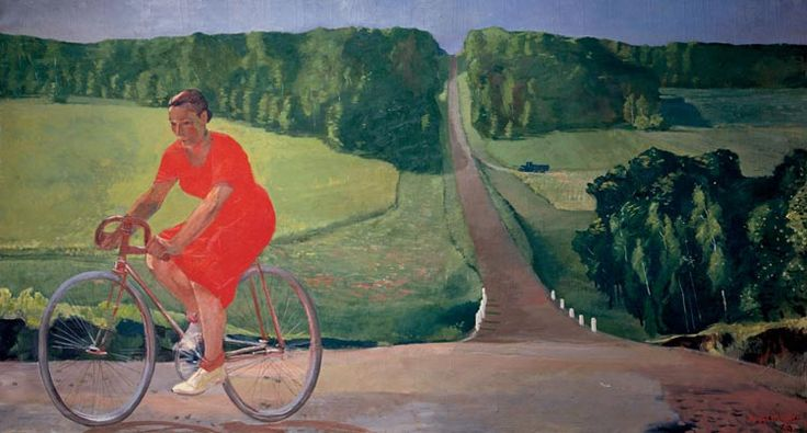 Alexander Deineka. Painting. The farmer on a bicycle. 1935