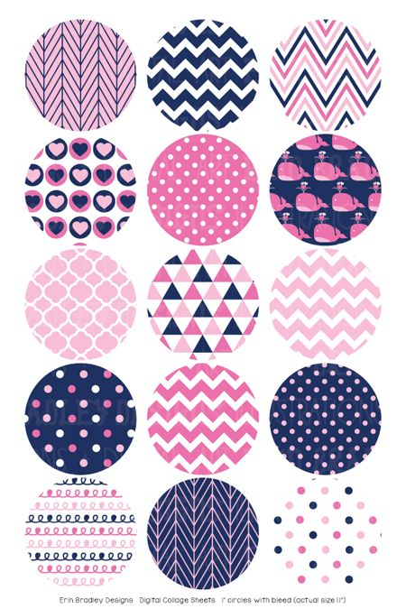 Pink Whales Digital Bottle Cap Images – Erin Bradley/Ink Obsession Designs