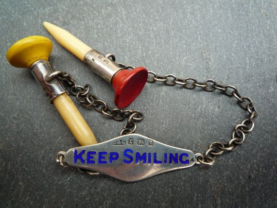 1932 Sterling Silver Golf Tee Holder Keep Smiling by APureVintage