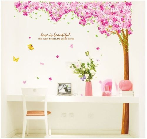 Large-Pink-Cherry-Blossom-Flower-Tree-Art-Decor-Adhesive-Removable-Wall-Stickers