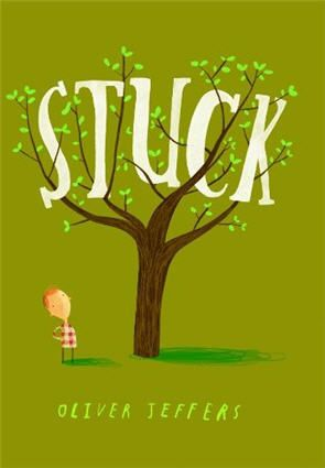 "Who doesn't love Oliver Jeffers, illustrator extraordinaire and maker of favorite children's books? This season, he's back with another treat: Stuck, an absurdly funny ""tale of trying to solve a problem by throwing things at it."""
