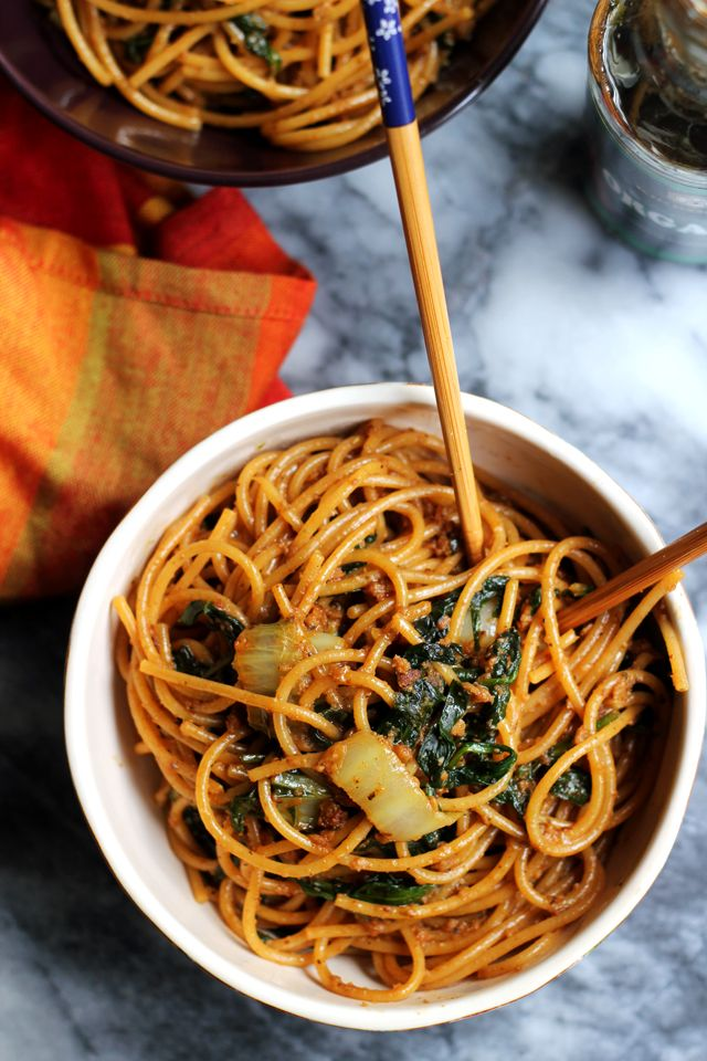 Whether you're celebrating Chinese New Year or just craving a take-out favorite, these spiced up vegetarian dan dan noodles will hit the spot.