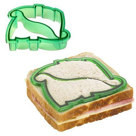 The Dinosaur sandwich cutter strips away the unwanted crust on a sandwich that kids (and some adults) hate, and leaves just the good, dinosaury stuff. If my parents had this when I was a kid, I'd have eaten the black forest ham sandwiches that were in my lunch box EVERY. SINGLE. DAY. of the school year, instead of throwing them out and getting fries and nuggets from the school cafeteria instead. Maybe.