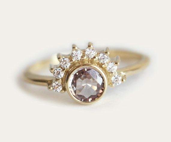 Sapphire Diamond Ring Rose Engagement Ring Gold by MinimalVS