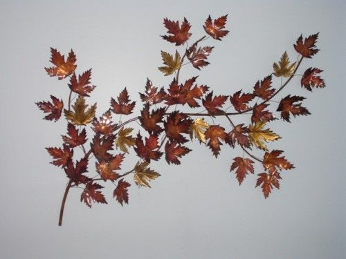 Metal Wall Art Of Fall Leaves In Brass Wide By Tall : Leaf Wall Decor