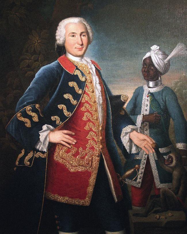 """""""Le capitaine de Vire du Liron de Montivers, aux Indes"""", 1750, portrait par François Dagobert Jouvenet"""