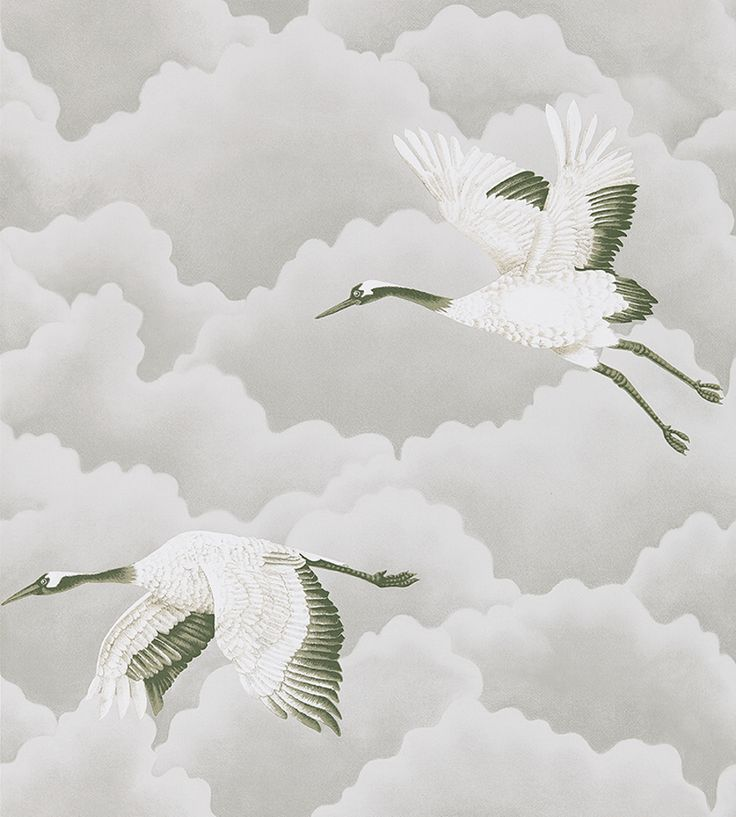 Cranes in Flight Wallpaper by Harlequin | Jane Clayton