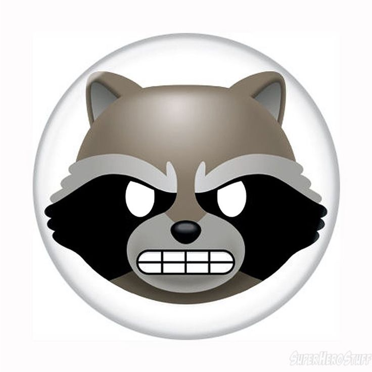 GOTG Rocket Raccoon Angry Emoji Button