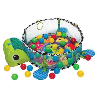 The Infantino Grow-with-Me Gym and Ball Pit is full of fun and activity! This versatile gym goes from play mat to ball pit, accommodating quiet tummy time as well as playtime. The mat has a comfy pad and a toy bar with 4 adorable sea pals, and the ball pit has colorful balls and pop-up mesh sides. This sensory-stimulating gym has attachable toys, multiple textures and lots of activities. It includes 40 balls that can be stored in the turtles head, 4 linkable sea pals and lots of shapes and…